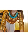 Gold-gold-scales-blouse-white-simple-jeans-turquoise-blue-diy-necklace