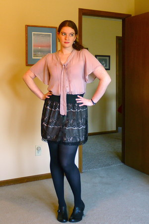 black lace Target skirt - light pink chiffon Forever 21 shirt