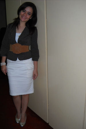 brown forever blazer - white thrifted skirt - gold Schu shoes - soul belt