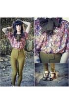 vintage blouse - riding pants American Apparel pants