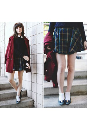 Chicwish coat - vintage shoes - Chicwish skirt