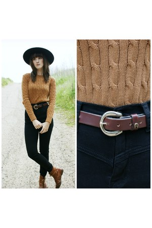 vintage boots - American Apparel sweater - vintage hair accessory - vintage belt