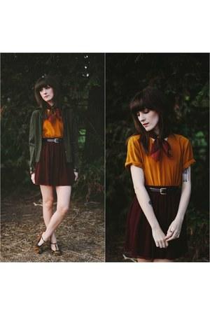 crimson modcloth shoes - gold vintage top - crimson American Apparel skirt