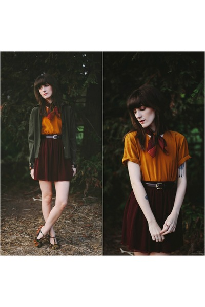 crimson modcloth shoes - gold vintage top - crimson American Apparel skirt
