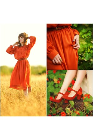burnt orange vintage dress