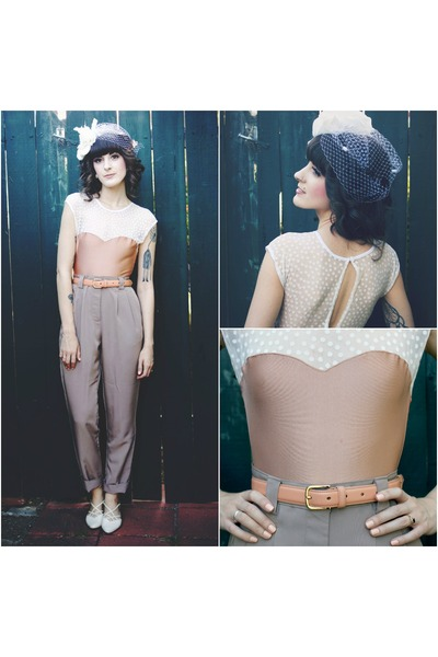 peach American Apparel belt - white vintage shoes