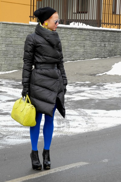 yellow Furla bag - black Topshop boots - black Pinko coat