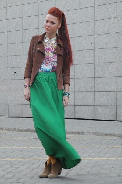 chartreuse Topshop skirt - mustard Topshop boots - mustard Miss Selfridge jacket