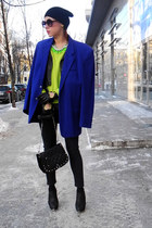 blue vintage jacket - chartreuse New Yorker jumper