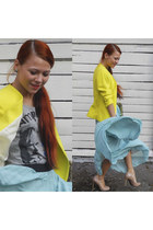 yellow H&M jacket - sky blue ViaVai skirt - mustard Jessica Simpson heels