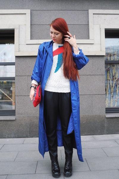 white vintage sweater - black Bershka pants