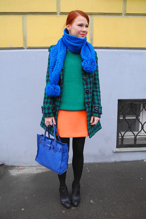 carrot orange BeFree skirt - blue Furla bag - green BeFree jumper