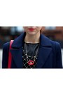 Navy-silvian-heach-coat-red-silvian-heach-bag-black-gaudi-pants