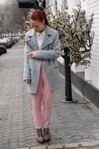 periwinkle Stradivarius coat - light pink Zara pants