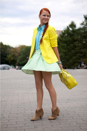 yellow H&M jacket - yellow Furla bag - lime green Topshop skirt
