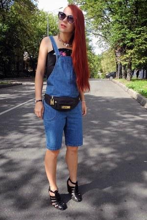 black Moschino bag - blue Topshop romper