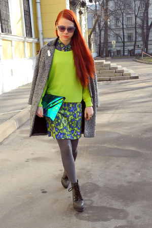 green Monki skirt - heather gray Topshop boots