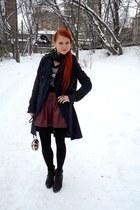 navy Topshop coat - black Santini boots - maroon Topshop skirt