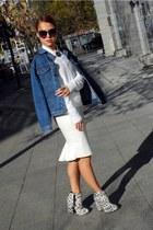 cream Topshop boots - blue Levis jacket