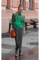 green Topshop blouse - carrot orange Topshop bag - charcoal gray Topshop heels