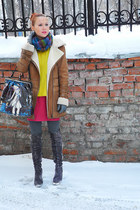 gray Mascotte shoes - yellow Zara jumper - hot pink Topshop skirt