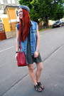 olive green Adidas dress - ruby red Bimba & Lola bag - blue Topshop vest