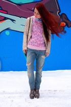 light pink Topshop jumper - light blue Fracomina jeans - neutral Gaudi jacket