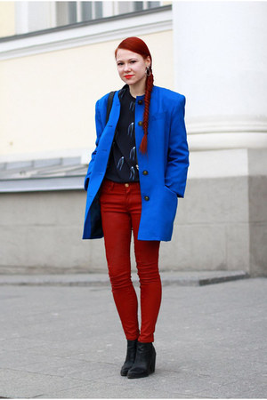 black Topshop boots - ruby red Zara jeans - black Monki blouse