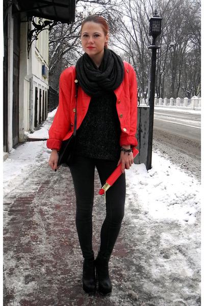 red vintage jacket - black Topshop boots