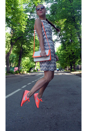 orange nike sneakers - white Zara dress