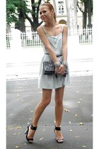 silver Topshop dress - black Topshop bag - black Topshop heels