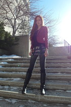 stained glass asos skirt - cranberry H&M blazer - H&M tights - black H&M t-shirt