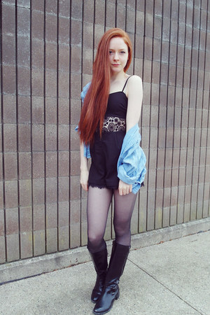 Nasty Gal romper - tights - vintage top