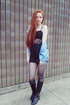 Nasty Gal romper - tights - vintage top