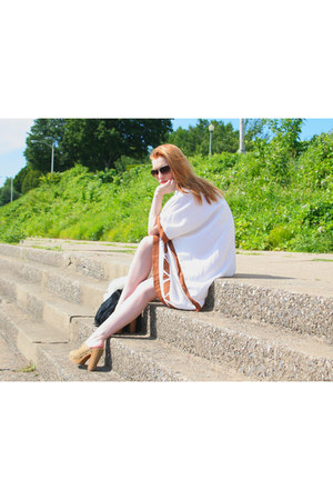 tawny ring - white dress - tawny necklace - dark khaki clogs