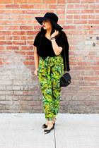 green harem Forever 21 pants - black shag H&M cardigan