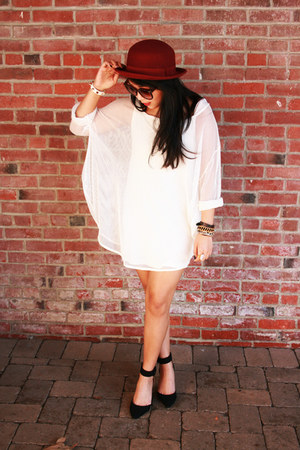 brick red bowler felt H&M hat - white Peanut Butter and Jerri dress