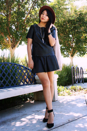 black pleather Pink Zone skirt - brown H&M hat - ivory shag Pink Manila cardigan