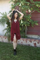 brick red sheer Gypsy Junkies top - black sneaker wedges Bucco shoes