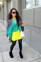 yellow H&M skirt - white H&M bag - brown Electric sunglasses - black wedges