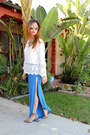 White-boohoo-top-blue-boohoo-skirt