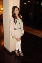 tan cardigan - lime green top - white socks - tan boots