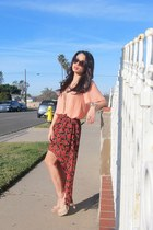 red floral volcom skirt - brown Electric sunglasses - nude digi heels