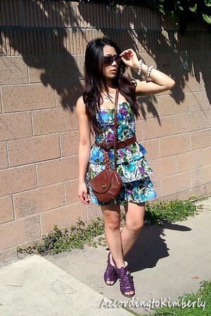 blue unknown dress - brown Express bag - purple Electric sunglasses - purple Ann
