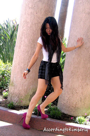 white Forever 21 shirt - black unknown scarf - black unknown shorts - hot pink B