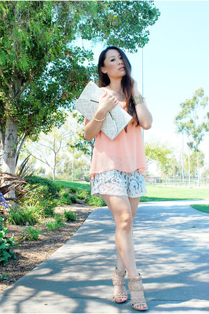 cream clutch Poppie Jones bag - lace shorts - nude Pelle Moda heels