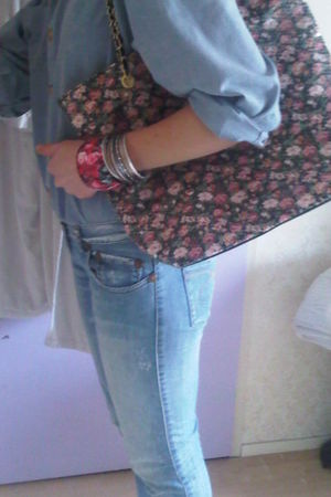 blue take two pants - blue vintage blouse - black Primark purse