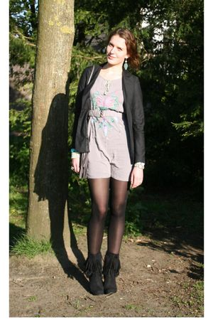 black Vero Moda blazer - silver vintage dress - black H&M tights - black Tally W