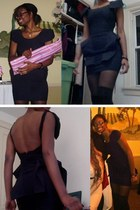 navy peplum Nasty Gal dress - black faux thigh high Urban Outfitters tights