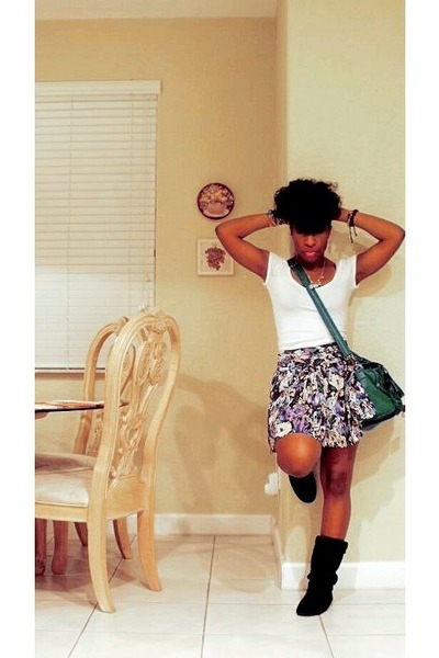 black runway boots - purple Forever 21 skirt - green Forever 21 purse - white Fo